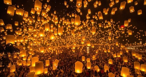 velas flotando
